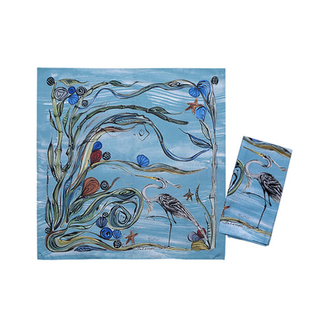 Clay Born Textiles Napkin Set of 2  - Heron