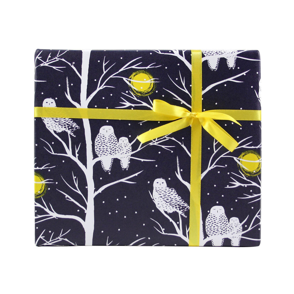 Smudge Ink Wrapping Paper Roll - Peaceful Owls