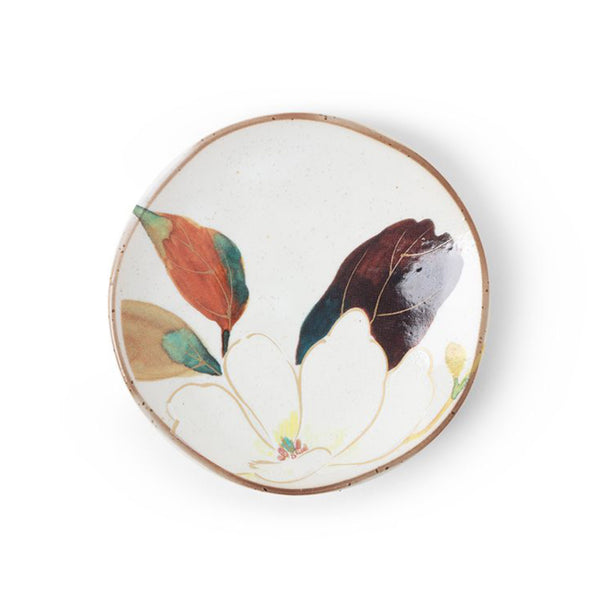 Japanese Small Floral Plate - White Flower