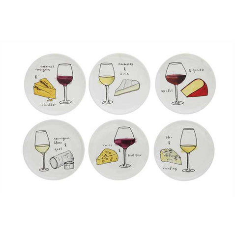 Wine & Cheese Motif Appetizer Plate Set of 6