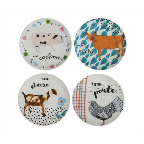 Farm Animals Salad Plate Set of 4