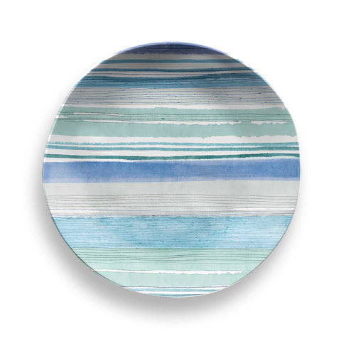 Aquatic Stripe Melamine Dinner Plate