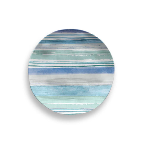Aquatic Stripe Melamine Salad Plate