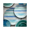 Aquatic Stripe Melamine Salad & Dinner Plate