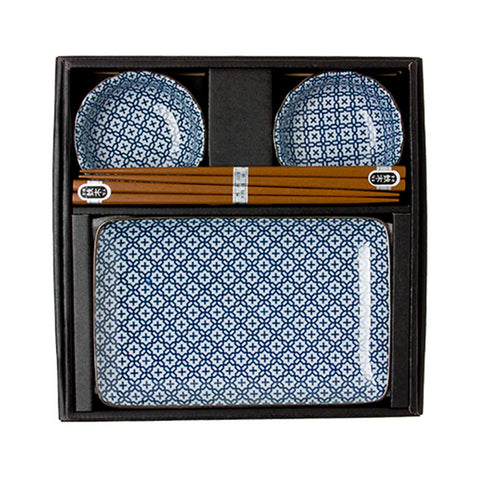 Blue & White Cross Sushi Set for 2