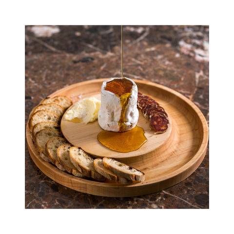 Shelburne Maple Round Cheese Board - in use