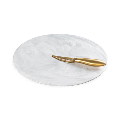 Marbleized Ceramic Round Cheese Board Set