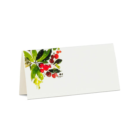 Cranberries & Greenery Place Cards