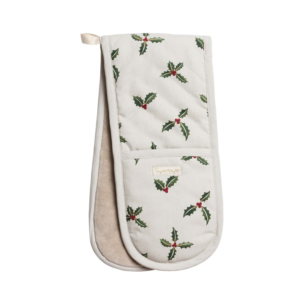 Sophie Allport Double Oven Glove - Christmas Holly & Berries