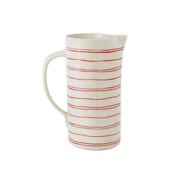 Hand-painted Pitcher - Red/Cream