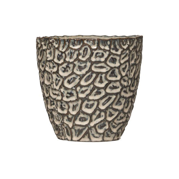 Reactive Glaze Embossed Stoneware Pot