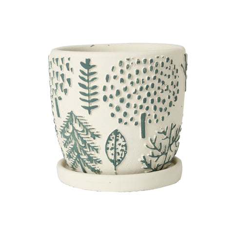 Elemental Ceramic Planter - Forest Green
