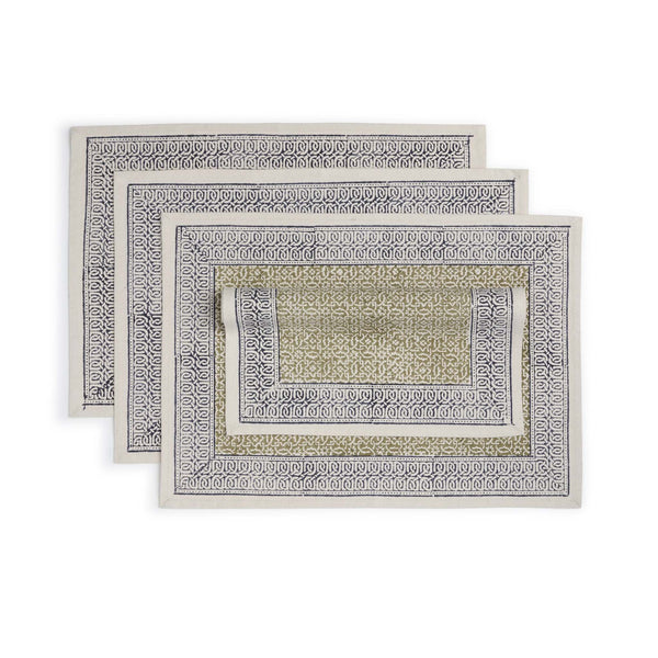 Hand Block Printed Cotton Placemat Set of 4- Fragrant Meadow