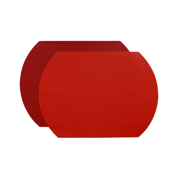 Gallery Oval Reversible Placemat - Geranium/Holiday Red