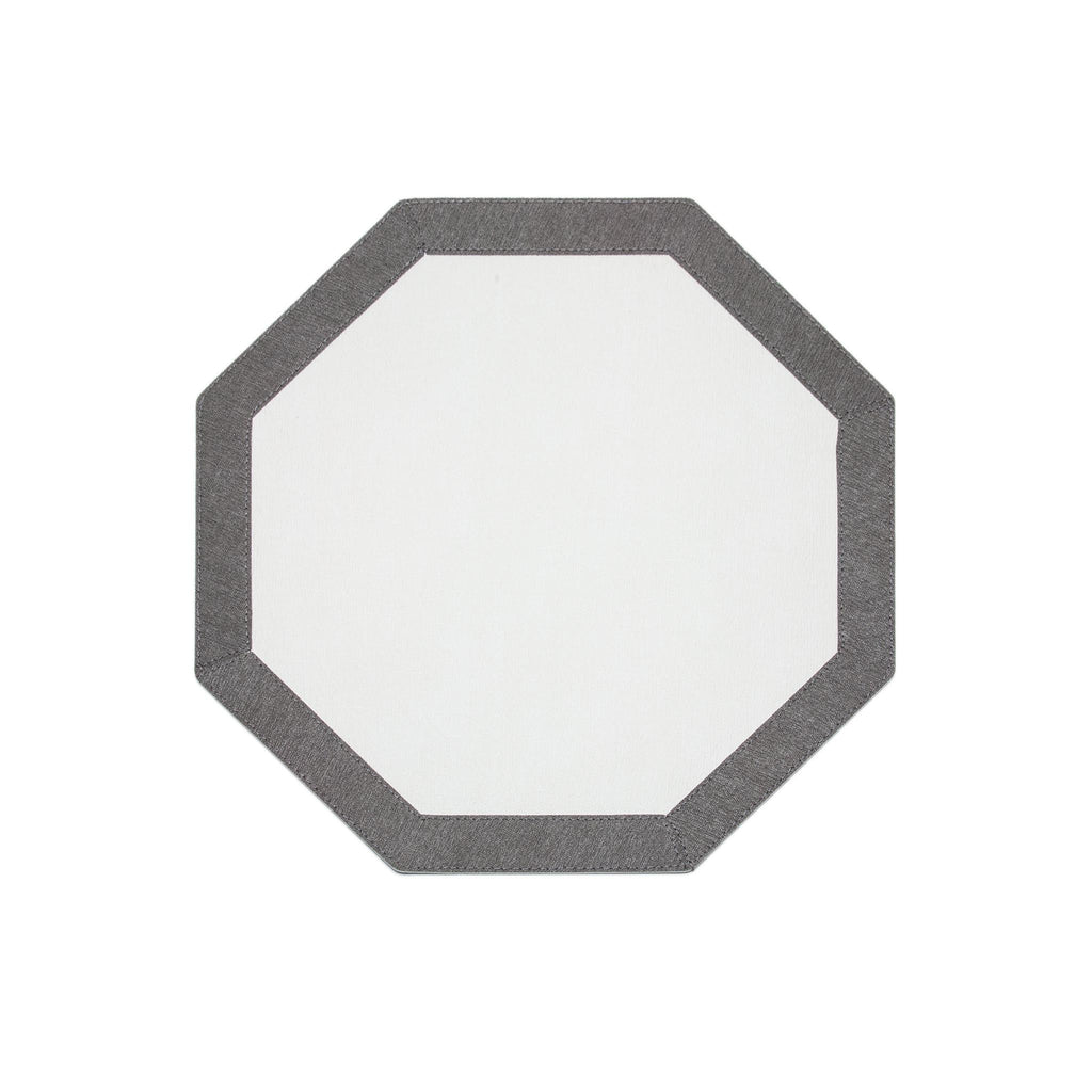 Bordino Hexagon Placemat - White/Charcoal