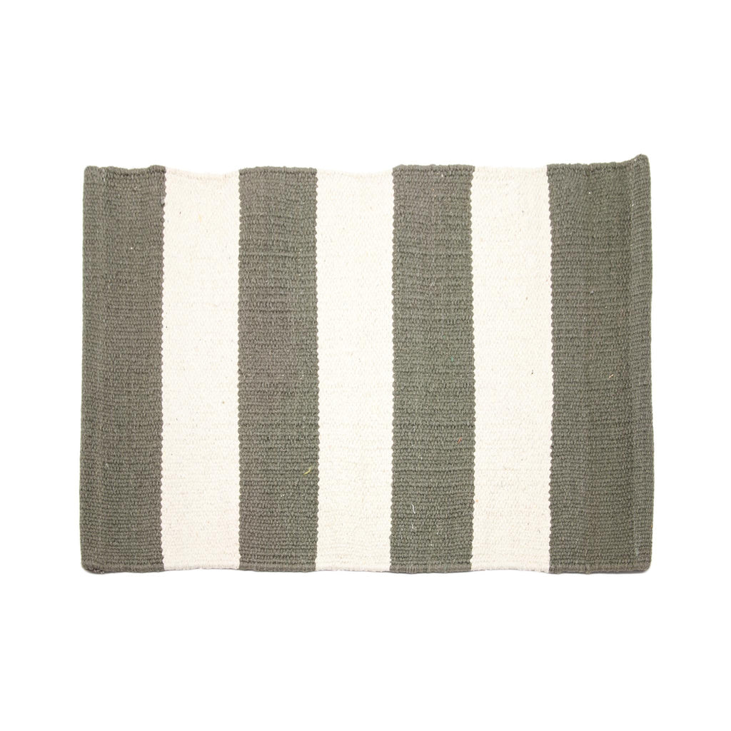 Cotton Dhurrie Placemat - Olive Stripe
