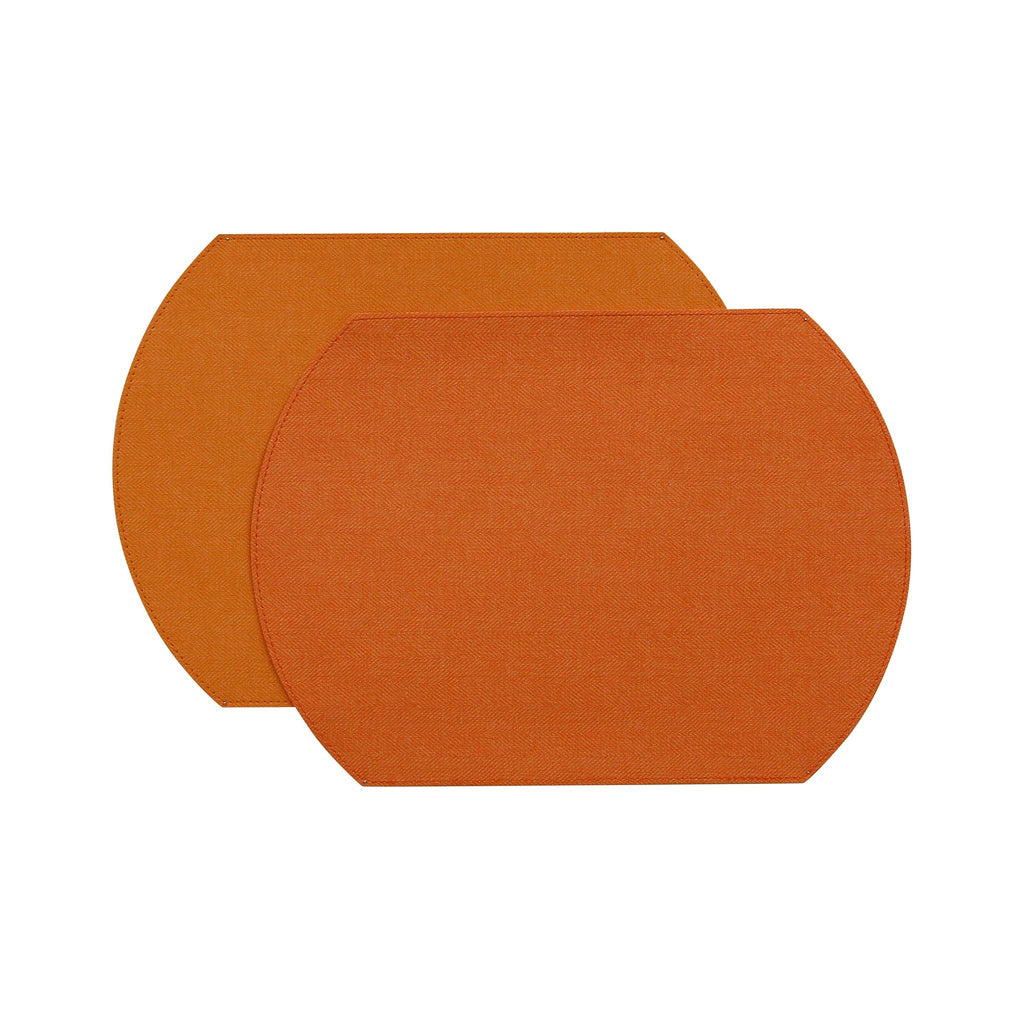 Herringbone Two-Sided Vinyl Placemat - Orange / Coral