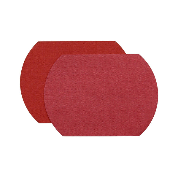 Herringbone Two-Sided Vinyl Placemat - Peony / Rouge