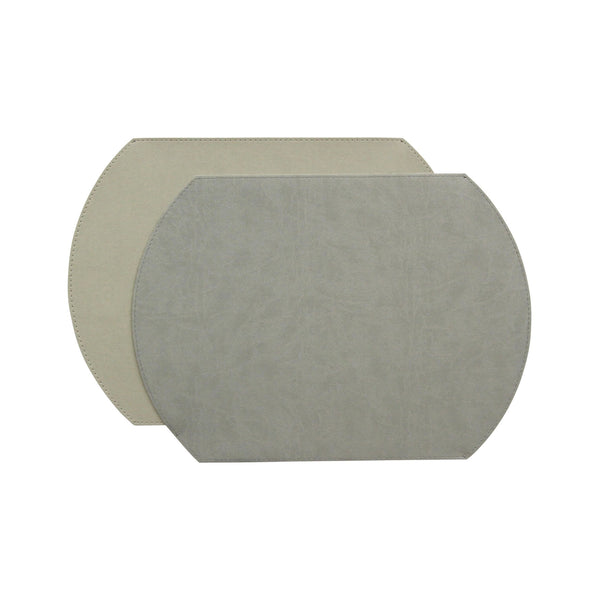 Gallery Oval Reversible Placemat - Stone/Pearl