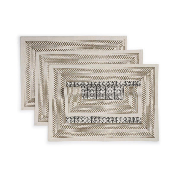 Hand  Block Printed Cotton Placemat Set of 4 - Hazelnut