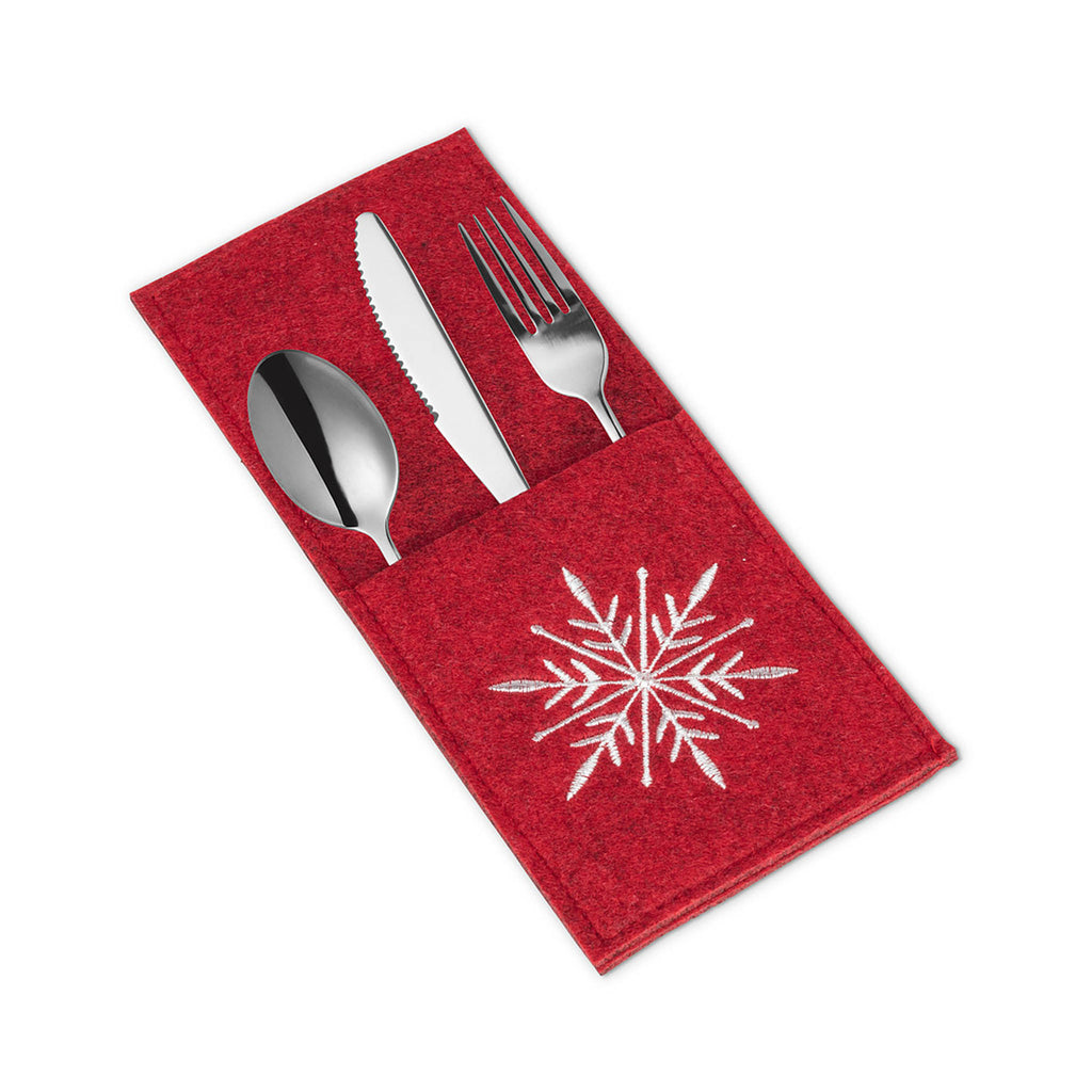 Felt Cutlery Pocket - Red Snowflake
