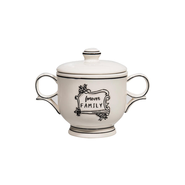 Black & White Covered Sugar Bowl -
