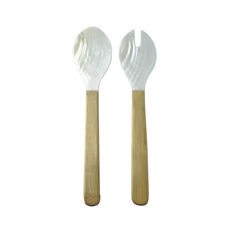Sea Shell with Bamboo Salad Serving Set