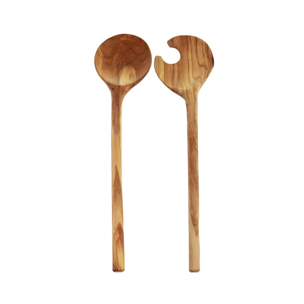 Olive Wood Round Salad Server Set