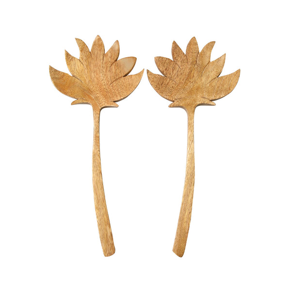 Natural Mango Wood Maple Leaf Serving Set