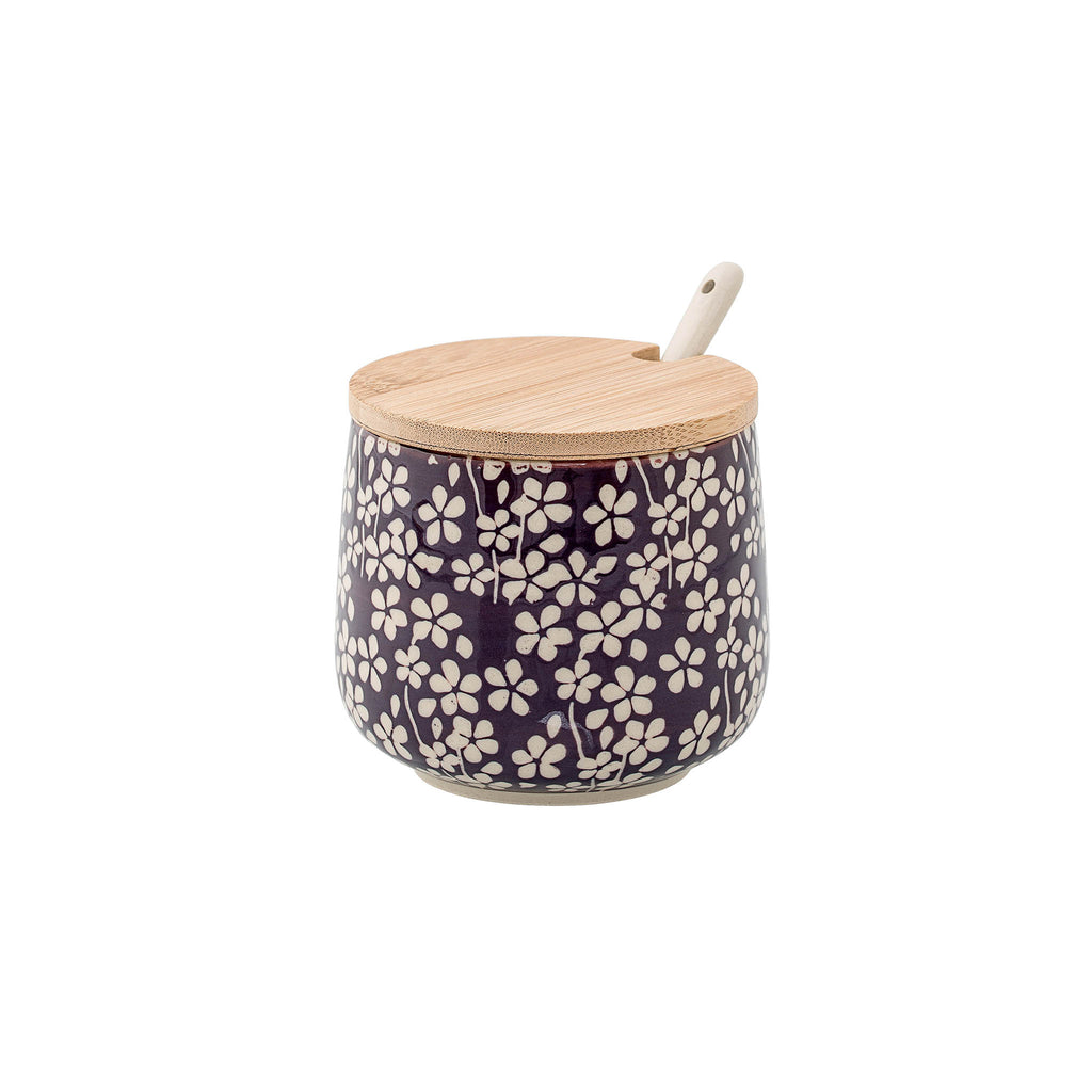 Stoneware Jar with Bamboo Lid & Spoon