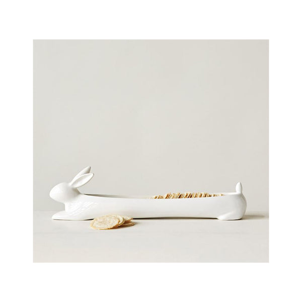 Ceramic Cracker Dish - Rabbit in use