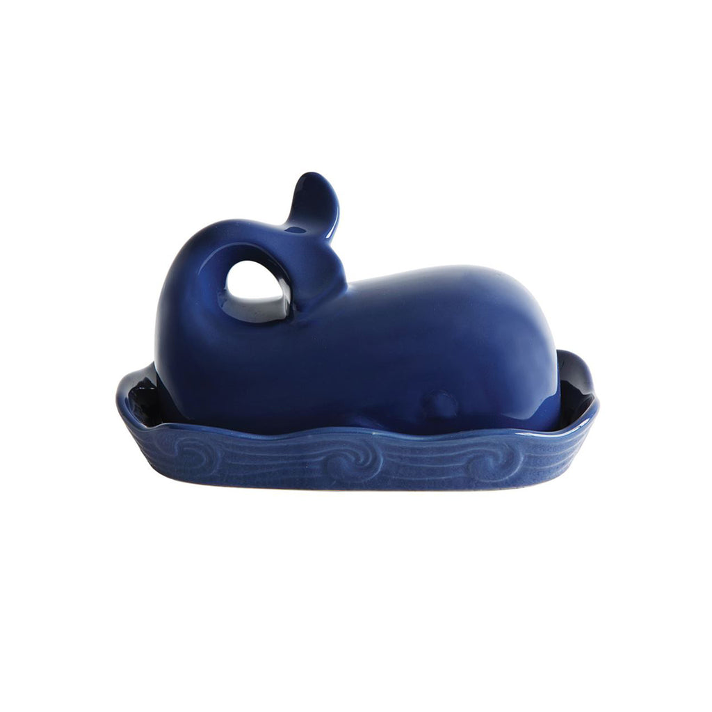 Whale Covered Butter Dish - Navy