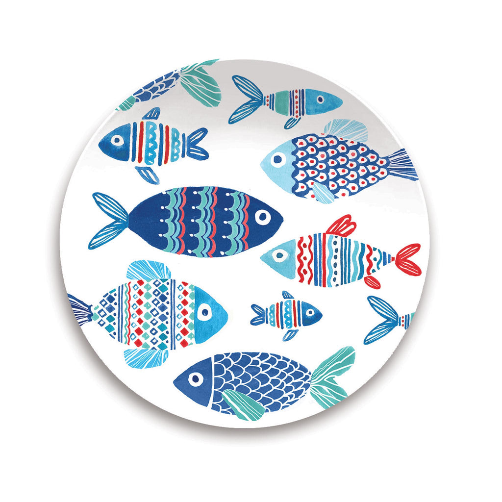 Nautical Fish Melamine Salad Plate