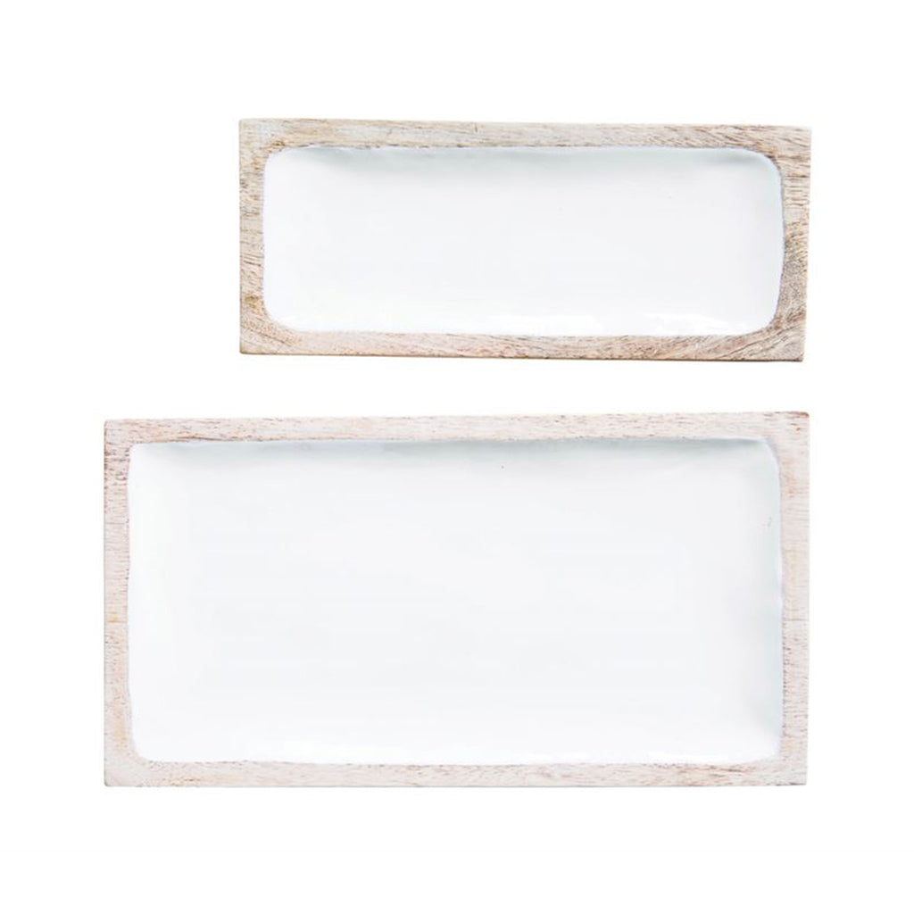 Mango Wood & White Enamel Trays