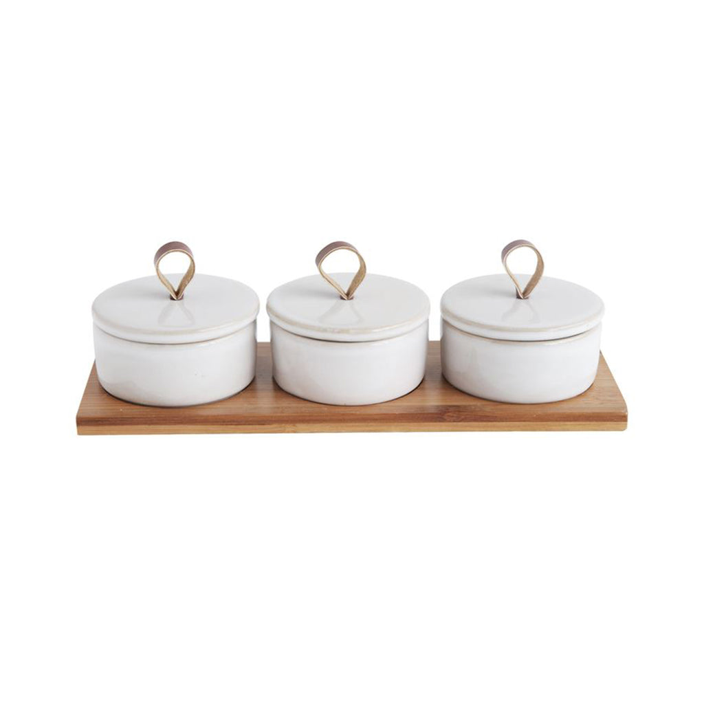 Covered Pinch Pots Condiment Set
