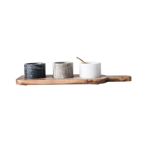 Acacia & Marble Trio Condiment Set