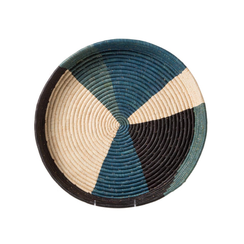 Handwoven Color Blocked Dipped Raffia Tray
