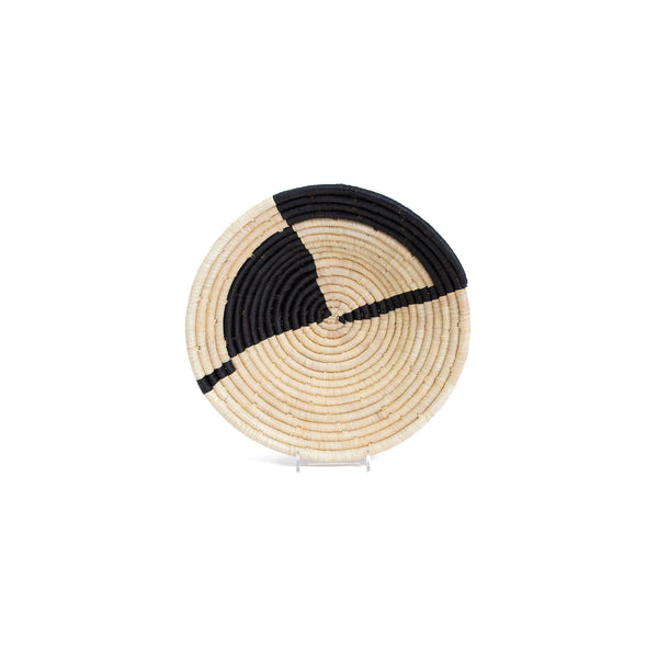 Handwoven Geo Black Medium Raffia Bowl