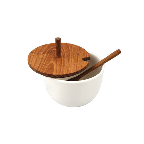 Ceramic Round Cellar with Teak Lid & Spoon
