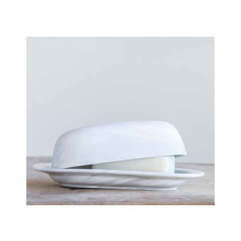 Marbelized Ceramic Covered Butter Dish