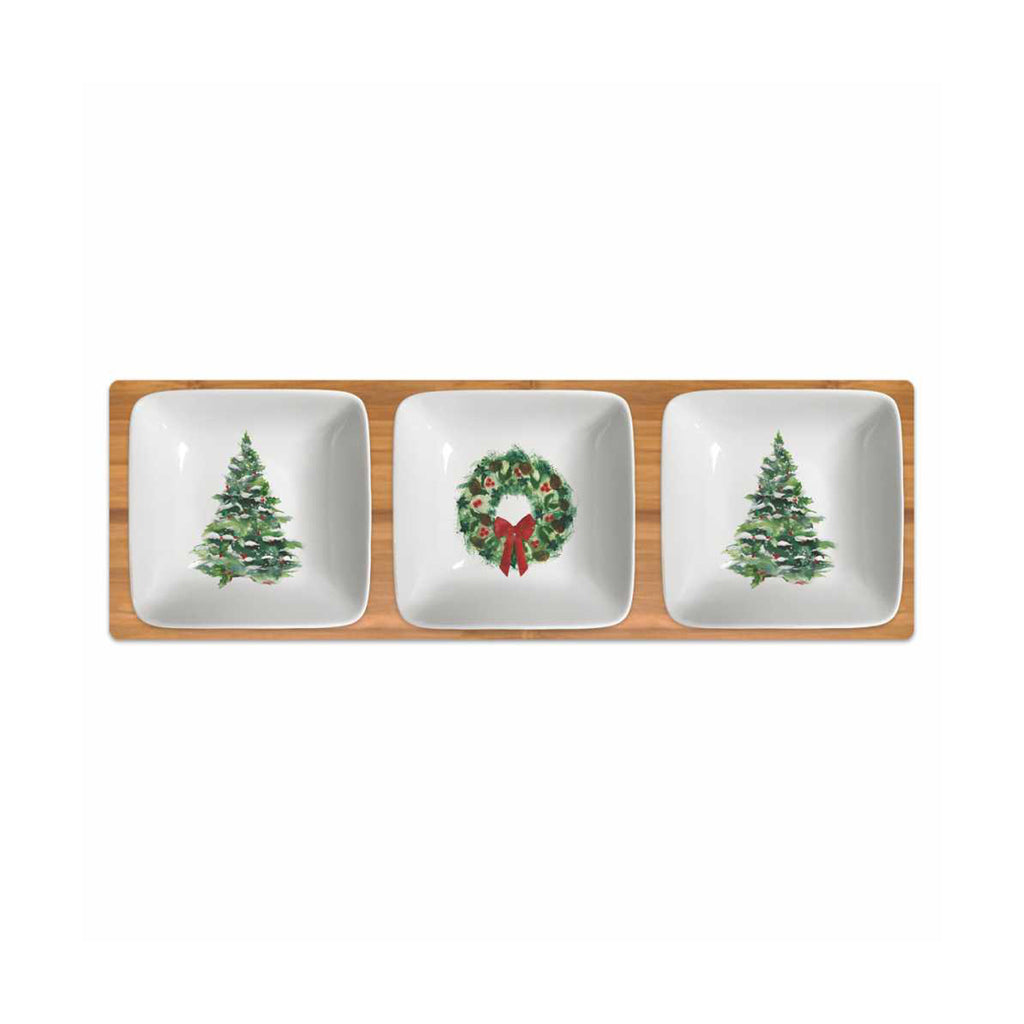 Winter Tree & Wreath Dipping Dish Set