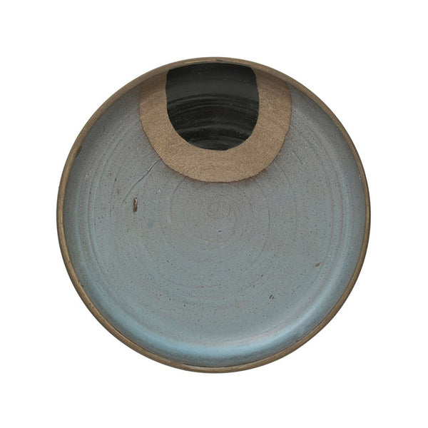Hand-painted Blue & Black Terra-cotta Decorative Plate