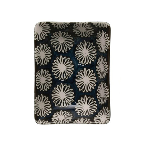 Midnight Blue Stoneware Trinket Dish - Floral