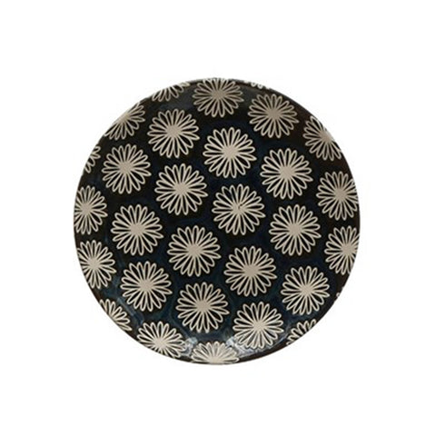 Midnight Blue Stoneware Plate - Small - Floral