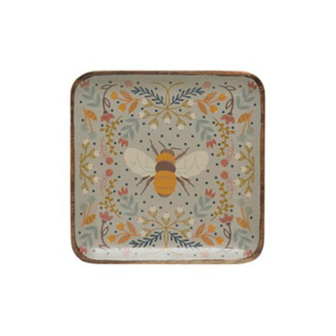 Square Enameled Acacia Platter - Bee 8