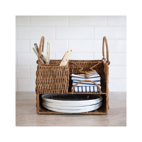 Rattan Outdoor Entertaining Caddy in use
