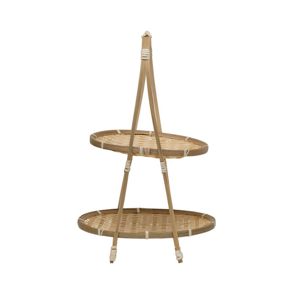 Handwoven Bamboo Two-Tiered Tray