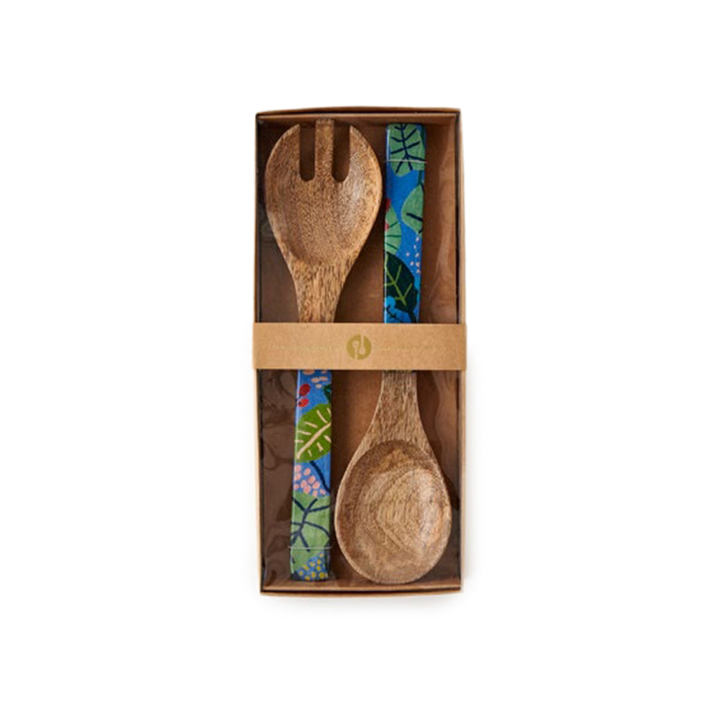 Mango Wood Oversized Salad Servers Set - Patterned