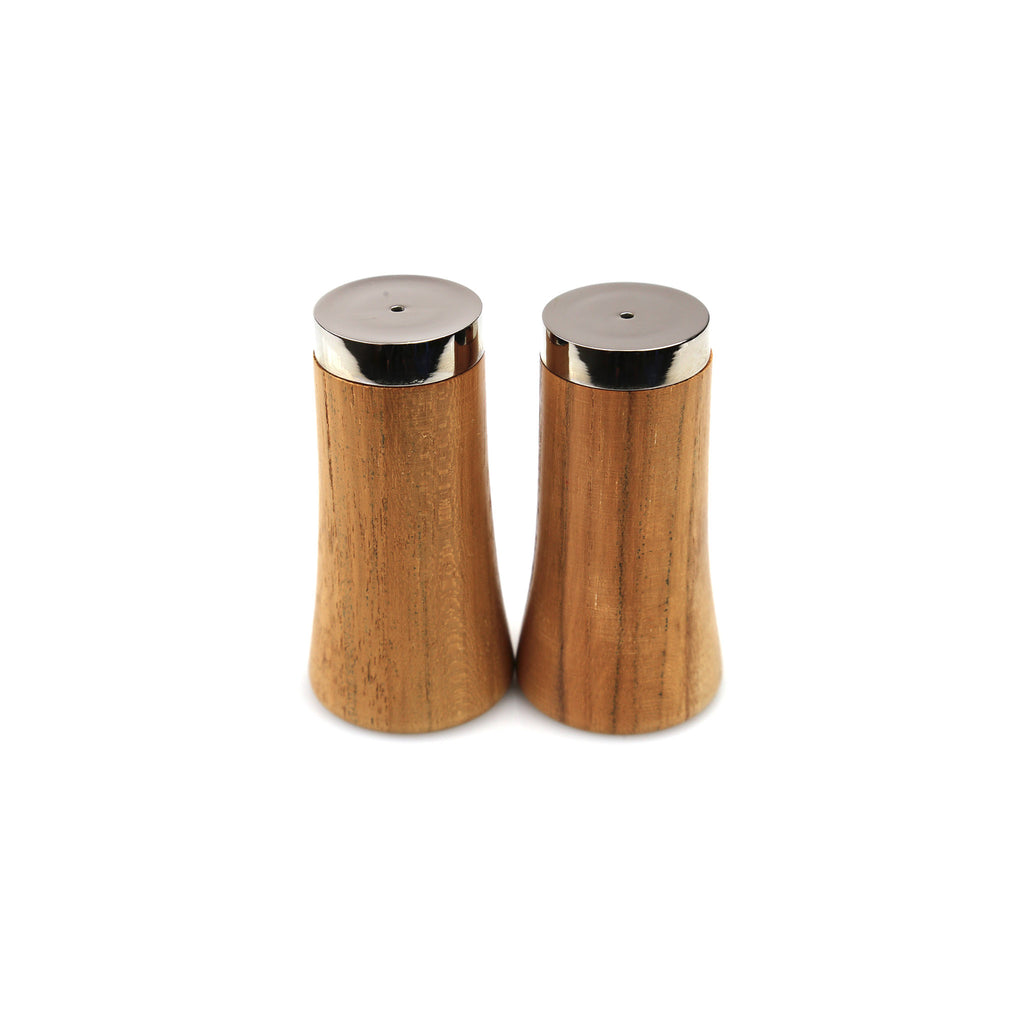 Teak & Stainless Salt & Pepper Shakers