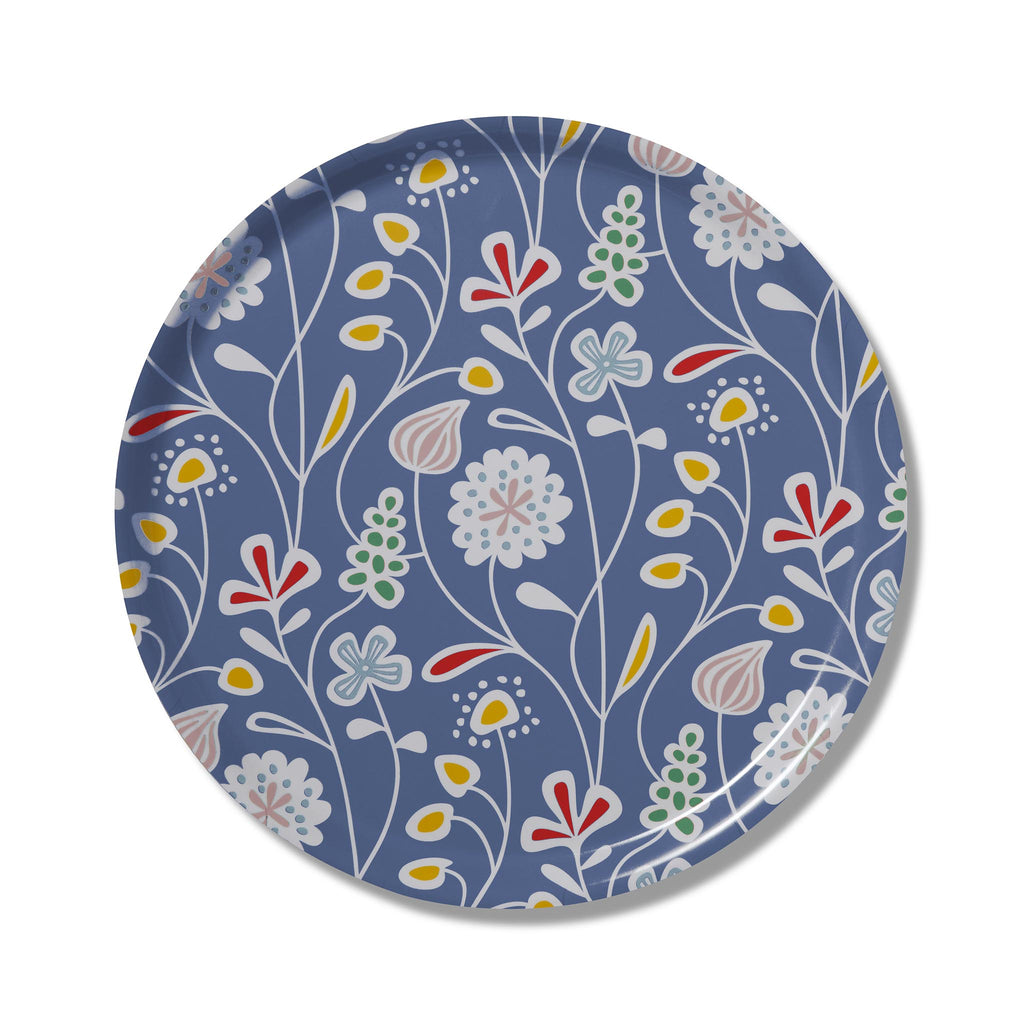 Swedish Laminated Tray - Flower Meadow Round - Blue